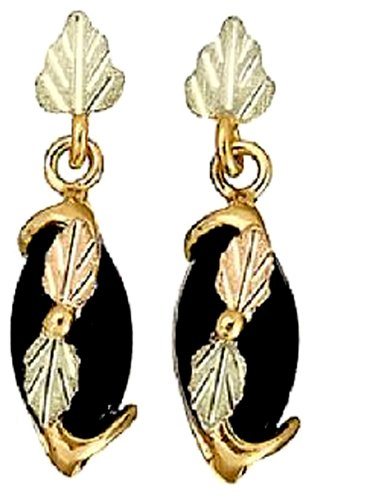 Stamper 12K Black Hills Gold Women's Gold Navette Black Onyx Dangle Earrings. E271X/PD