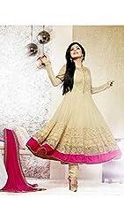 INDIA FASHION SHOP CREAM PINK EMBROIDERED WORK GEORGETTE UN-STITCHED DRESS
