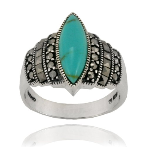 Sterling Silver Marcasite and Lab Created Turquoise Marquis Ring, Size 5