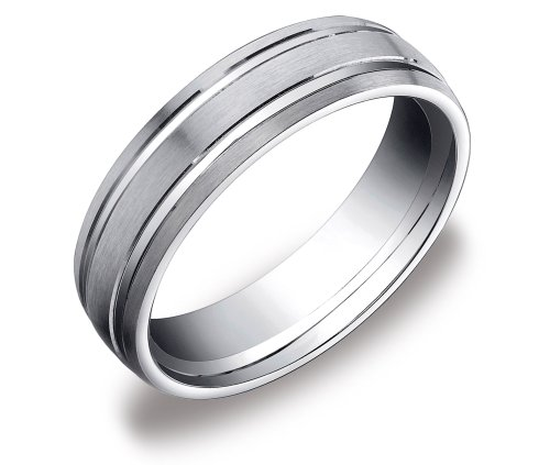 14k White Gold 6mm Oval Comfort Fit Men's Wedding Band with Polished Twin Concave Center Cuts