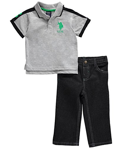 U.S. Polo Assn. Baby-Boys Infant Polo With Five Pocket Denim Pant, Light Grey Heather, 12 Months