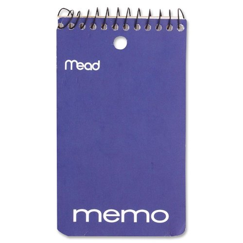Mead 45354 - Memo Book, College Ruled, 3 X 5, Wirebound, Punched, 60 Sheets, Assorted-Mea45354