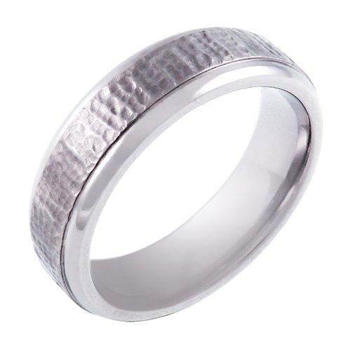Men's Titanium 6.5mm Hammered Wedding Band , Size 9
