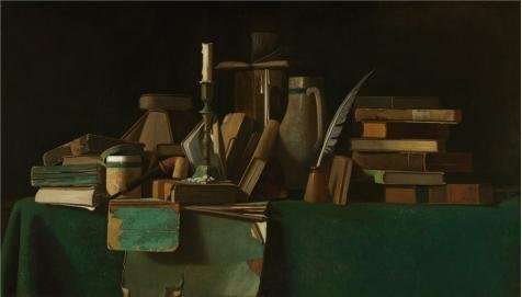 Oil Painting 'John Frederick Peto,Books On A Table,about 1900' Printing On High Quality Polyster Canvas , 20x35 Inch / 51x89 Cm ,the Best Garage Decoration And Home Gallery Art And Gifts Is This High Quality Art Decorative Canvas Prints (Peto Bear compare prices)