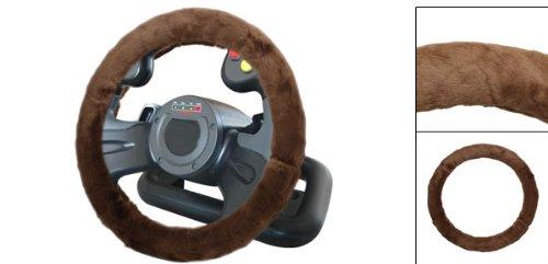 Marron fonc d hiver en peluche prot ge volant wheeling for Housse volant voiture