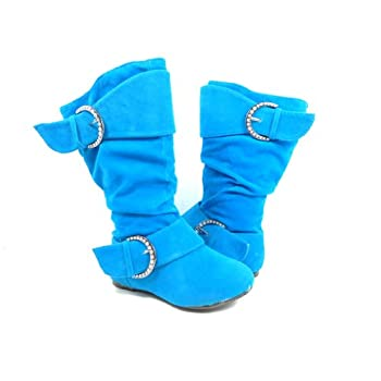New Toddler Youth Girls Turquoise Blue Suede Calf High Zippered Boots feat Crystal Belt Design and Rubber Non Slip Sole promo code 2015