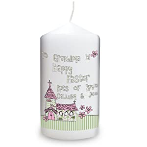 Personalised Whimsical Church Easter Candle by Pmc