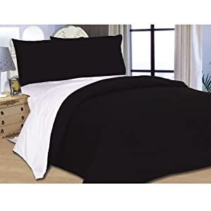 4pcs Double Bed Dyed Duvet Cover Complete Bedding Set + Fitted Sheet Black White by HIS TEXTILES