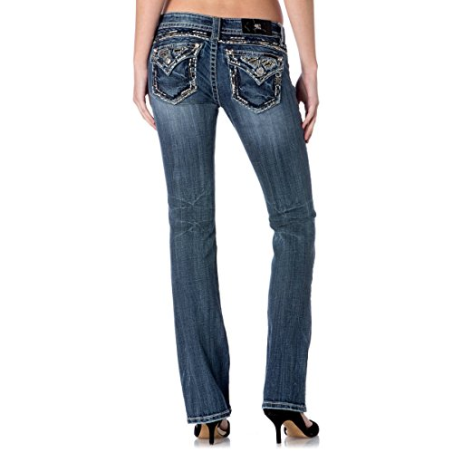 Miss Me Jeans Women`s Studded Heavy Thick Stitched Medium Wash Slim Boot Cut (29)