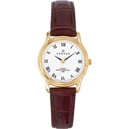 Certus - 646241 - Ladies Watch - Analogue Quartz - White Dial - Brown Leather Bracelet
