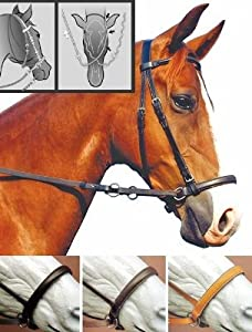 Bitless Bridle English Leather Headstall Bridle Black, XFull