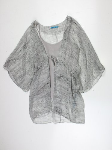 Alice + Olivia womens grey multi alabama drawstring wrap blouse M
