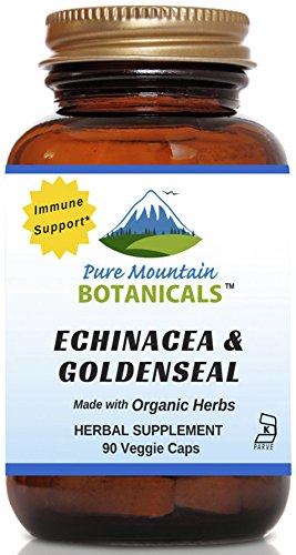Echinacea Goldenseal Capsules - 90 Kosher Vegetarian Caps - Now with 450mg Organic Echinacea Goldenseal Complex - Nature's Gold Standard Supplement by Pure Mountain Botanicals (Gold Seal Echinacea compare prices)