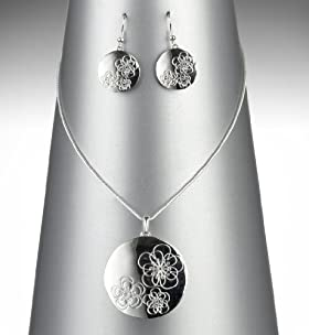 Silver Plated Ditsy Disc Necklace