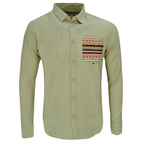 Soulstar Inca Slim Fit Aztec Print Pocket Casual Shirt Mens Size L - Beige