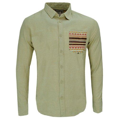 Soulstar Inca Slim Fit Aztec Print Pocket Casual Shirt Mens Size M - Beige