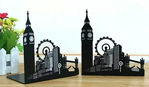 Fasmov Ferris Wheel City Nonskid Bookends Art Bookend,1 Pair(Black)