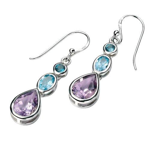 Elements Sterling Silver, Ladies, E4424, Amethyst, Blue Topaz and London Blue Topaz Drop Earring