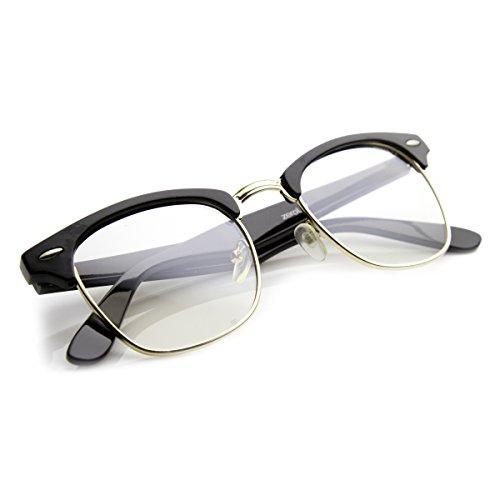 Mắt kính hàng hiệu Vintage Inspired Classic Half Frame Clubmaster Horn Rimmed Cl