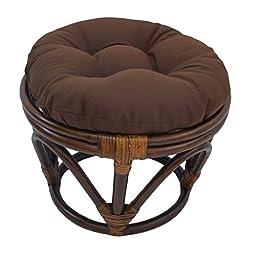 Blazing Needles Solid Twill Round Footstool Cushion, 18\