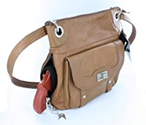Premium Leather Crossbody Style Locking Concealment Purse - CCW Concealed Carry Gun - Wire Reinforced Strap (Light Brown)