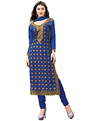 Inddus Women Blue Colored Embroidered Dress material