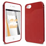 Premium – Apple iPhone 4G TPU T-Matrix Red Case (Carrier: AT&T/Verizon) – Faceplate – Case – Snap On – Perfect Fit Guaranteed