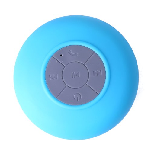 Hde Portable Waterproof Mini Bluetooth Shower Pool Speaker W/ Suction Mount & Handsfree Calling - Blue