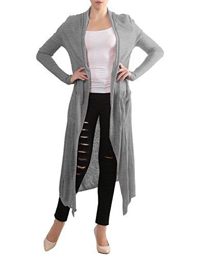 Thanth Womens Draped Open Front Stylish Long Knit Cardigan