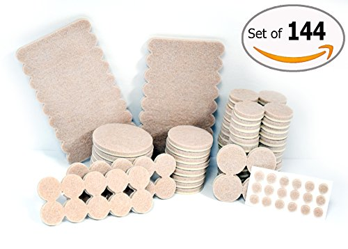 Self Adhesive Felt Furniture Pads Anti Skid Protector for Carpet , Tiles , Laminates and Hardwood Floors - Premium 144 Cover Pieces Scratch Protection . Silicone Bumper Pads Protection for Walls (Closet Sliding Door Bumper compare prices)