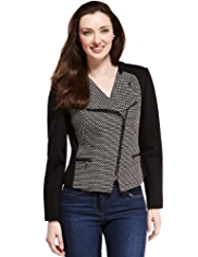 M&S Collection Tweed Colour Block Biker Jacket