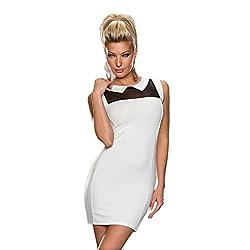 Jaune Collar Neck Sheath Dress - White