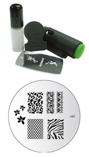 Konad Image Plate M-57 Zebra+konad Stamping Nail Art Mini Set Include Mini Stamper Mini Image and Mini Special Polish for Nail Art Design