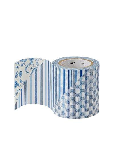 mt Masking Tape Floral & Stripes Decorative Tape, Blue/White, 32.8 ft.