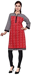 ROY KURTIS Women's Cotton Regular Fit Kurti (black&red_printed-1_XL, Red, XL)