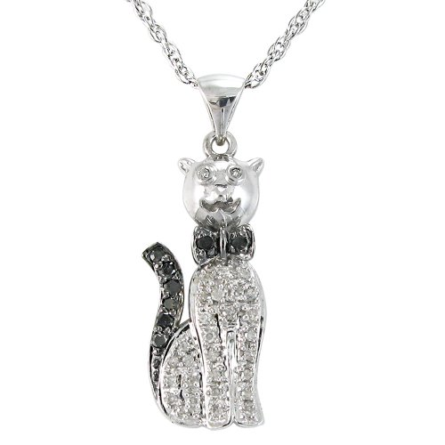 Sterling Silver Black and White Diamond Cat Pendant Necklace (1/4 cttw), 18
