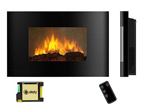 Akdy Az520al Wall Mounted Electric Fireplace Control Remote Heater Firebox Black From Akdy At
