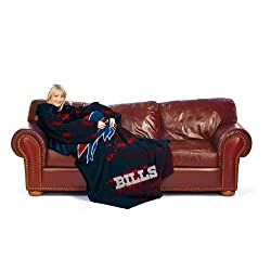 "Buffalo Bills NFL Adult ""Smoke"" Huddler Throw Blanket with Sleeves"