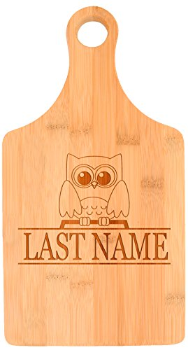 Customized Last Name Cute Owl Wedding Gift Personalized Paddle Shaped Bamboo Cutting Board