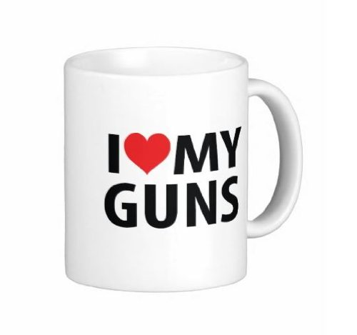 Pair Of 15 Ounce I Love My Guns Coffee Mugs - Dishwasher And Microwave Safe
