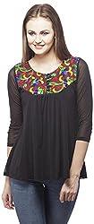 Peptrends Women's Regular Fit Top (TO15085BK_S, Black, S)