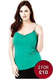 Plus Scoop Neck Plain Ruched Camisole with Stay New™