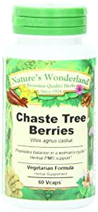 Nature's Wonderland Chaste Tree Berries Herbal Supplement Capsules, 550 mg, 60 Count Bottle