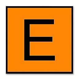 Alphabet E Orange Canvas Print Black Frame Kids Bedroom Wall Décor Home Art