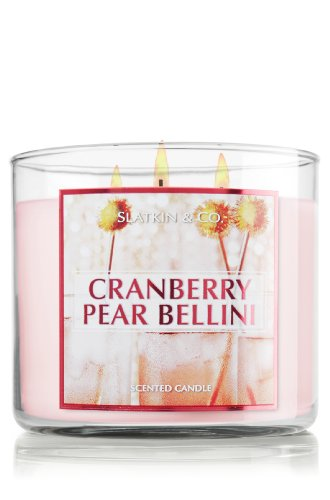 Slatkin & Co. Cranberry Pear Bellini 14.5 oz 3-Wick Candle