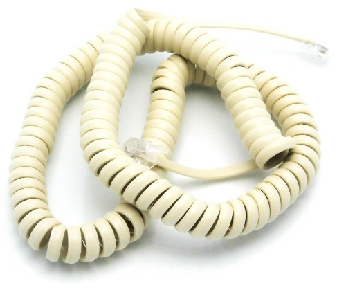 Telephone Cord Handset Curly - Tough Long Lasting And Resilient - Phone Color Classic Clay Tan 15ft - 2 Year Replacement Warranty - Works on virtually all Trimline Phones and Princess Telephones - Als