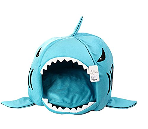 Dog Cat Puppy Pet Shark Cave Bed Mat Nesting Rest Knit Cotton Soft Warm Removable Cushion Mat Dog Puppy Cat House (Blue, Small)
