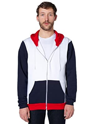 American Apparel Flex Fleece Color Block Zip Hoodie