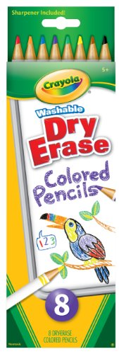Crayola 8 Count Washable Dry-Erase Colored Pencils - 1