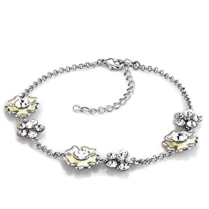 Pugster Flower Crystal Swarovski Elements Crystal Ankle Adjustable Bracelet Anklet Lobster Clasp